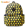 Melhor presente hcandice new emoji smiley face de impressão de lona das mulheres mochilas schoolbag drop ship bea676
