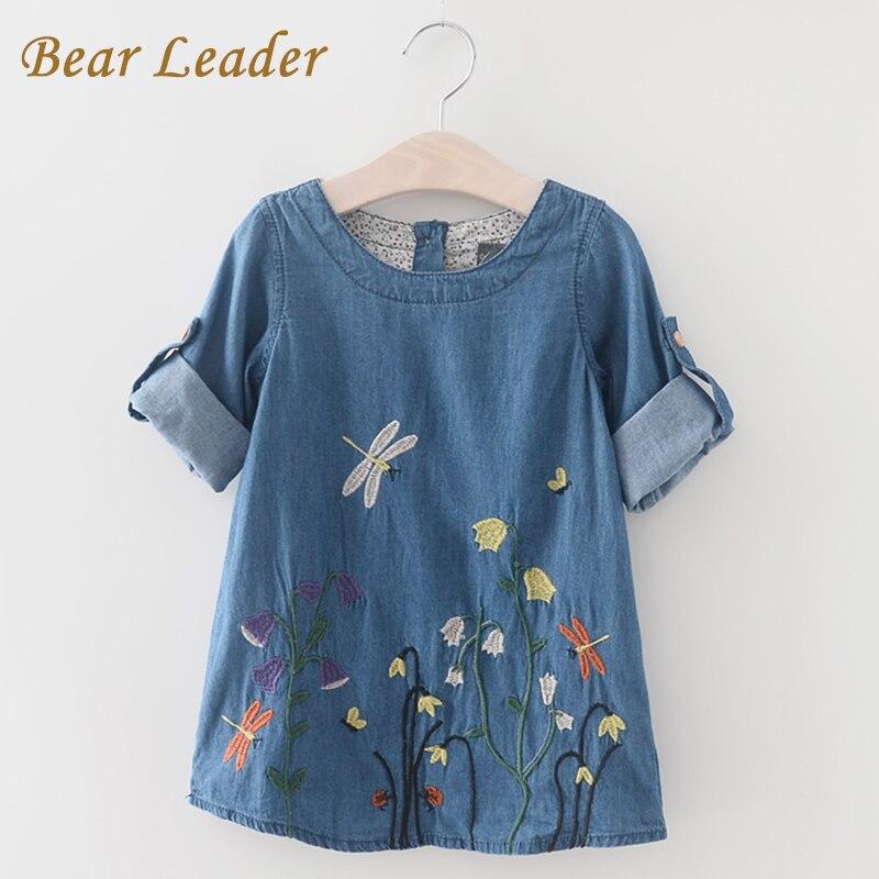 Bärenführer Mädchen Denim Kleid 2018 Kinder Kleidung Frühling der Beiläufigen Art Mädchen Kleidung Schmetterling Stickerei Kleid Kinder Kleidung
