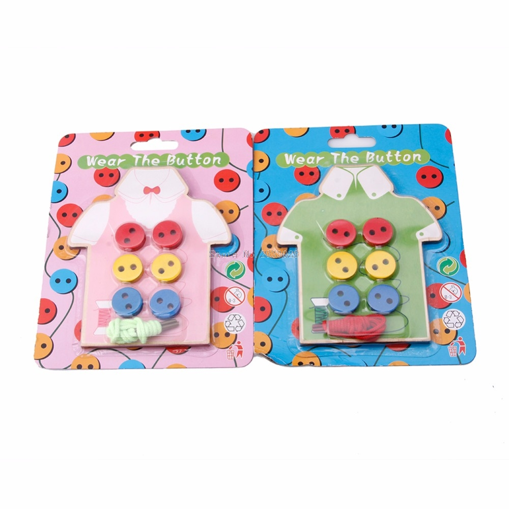 Kids Early Education Teaching Aids Beads Lacing Board Wooden Toys Sew On Buttons Teaching Kids Gifts -B116