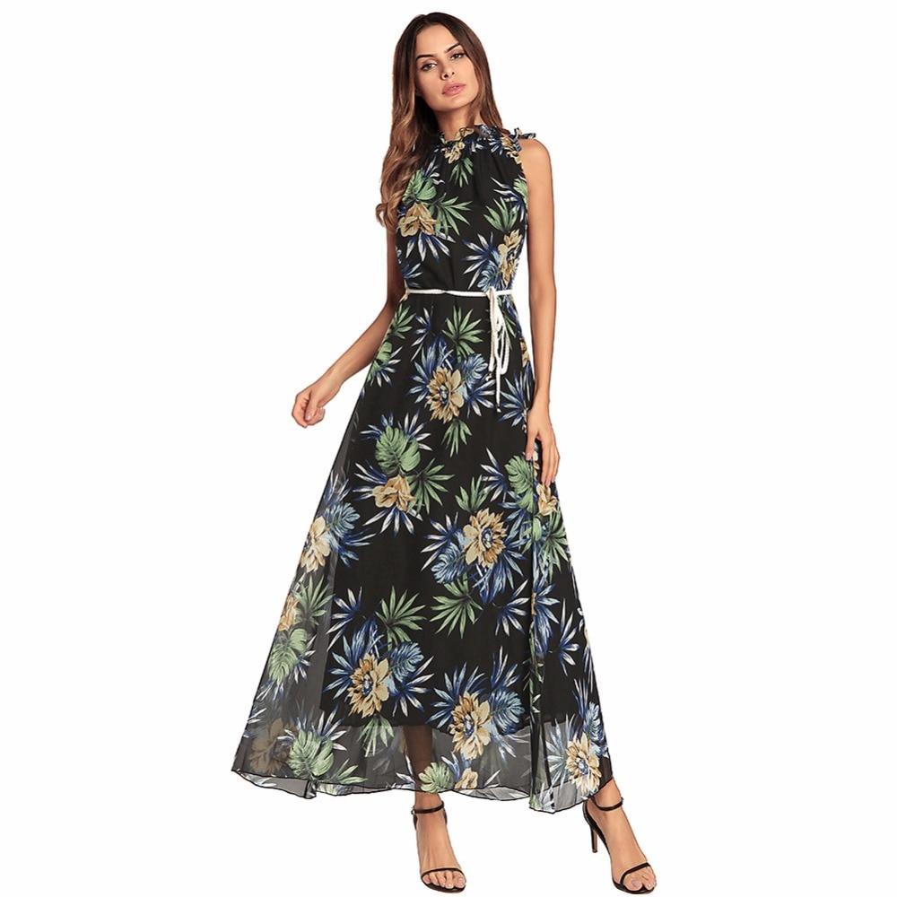 Summer Women Long Dress Floral Print High-Neck Sashes Tunic Dress Women Evening Party Dress Sleeveless Chiffon Holiday Dresses