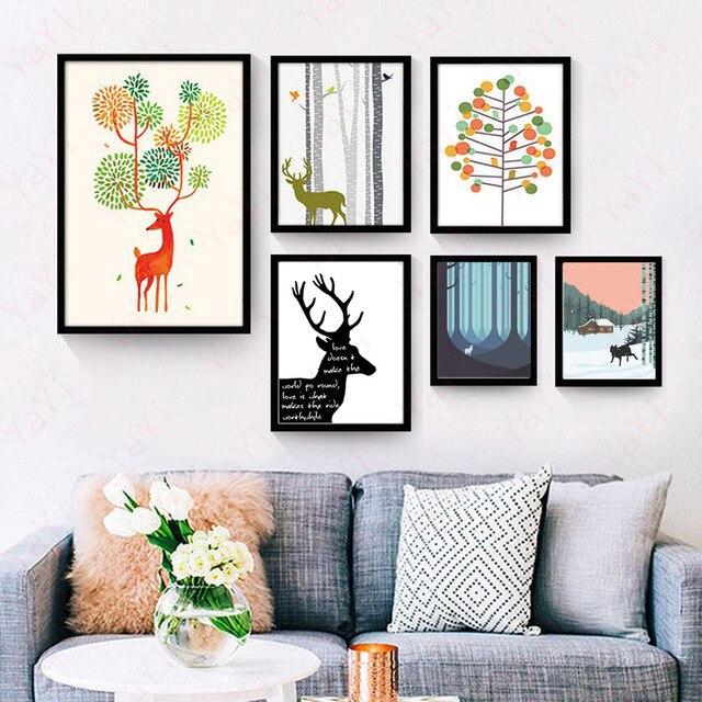 € 5.99 10% de réduction|HAOCHU Nordique moderne simple arbre forêt coloré  village cerf décoration toile Peinture salon affiche mur art cadeau dans ...
