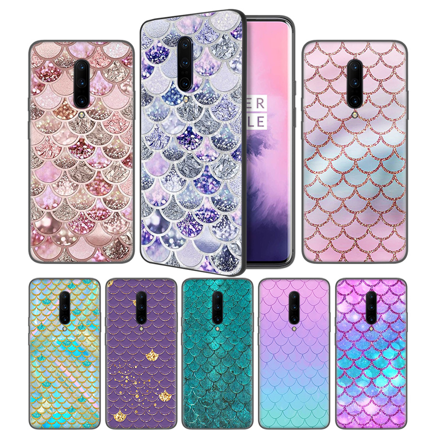 Mermaid Fish Scale Pattern Soft Black Silicone Case Cover for font b OnePlus b font 6
