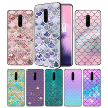 Mermaid Fish Scale Pattern Soft Black Silicone Case Cover for OnePlus 6 6T 7 Pro 5G Ultra-thin TPU Phone Back Protective