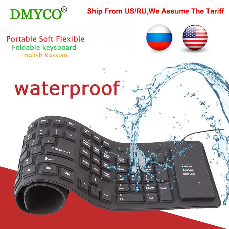 109 keys Remote Control Russian/English Wire USB Interface Silica Flexible Keyboard For Tablet/Laptop/PC/Desktop Portable Gaming waterproof russian keyboard stickers english french letter alphabet layout sticker for laptop desktop computer