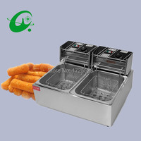 Double Tank Electric Fryer 12L Commercial Deep Fryer With Temperature Control Manual Control Or Machanic Timer