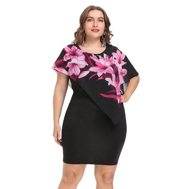 95b498ee16 Wipalo kobiety moda 2018 lato Plus Size 5XL Capelet nakładka sukienka na  imprezę szyfonowa Panel O