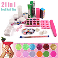 18 Color  Nail Art Manicure Tools  UV Gel nail base gel top coat polish with Remover  Finger Tips kit#90867