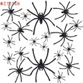 Best-seller drop ship 20 PC Halloween Plastic Black Spider Joking Toys Realistic for playing fun brincando Brinquedos wholesale