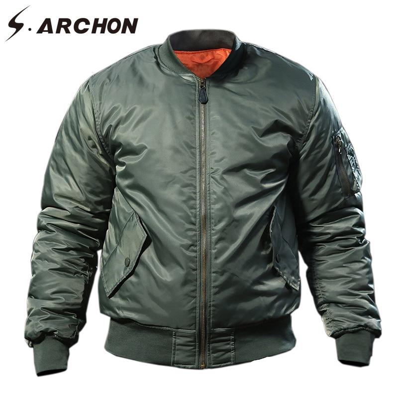 S. ARCHON MA1 Air Force военные Курточка бомбер Для мужчин зимние теплые тактический куртка пилот пальто мягкий ветрозащитный мотоцикл в стиле милит...