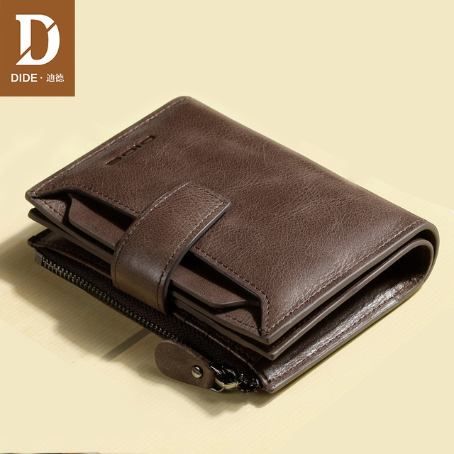 DIDE Genuine Leather Men's Purses Wallets Male Wallet Brand Vintage Mini Small Zipper Coin Purse Short Wallet credit card holder