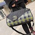 Wholesale Cheap New Arrival Black Plaid Nylon Men Bag Women Ball Hand Bags Independent Shoes Pocket High Quality Travel Bag Z011