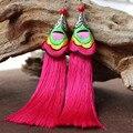 Brincos Jóias étnicas Bordado Manual de Pura Restaurar Antigo Longo de Seda Borlas Eardrop Dangler Moda Ornamentos Ouvido das Mulheres