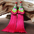 Ethnic Jewelry Embroidered Earrings Pure Manual Restore Ancient Long Silk Tassels Eardrop Women's Fashion Ear Ornaments Dangler