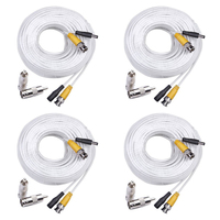 MOOL 4 Pack Security 100 Feet Pre Made Siamese BNC Video And Power Cable Ready To