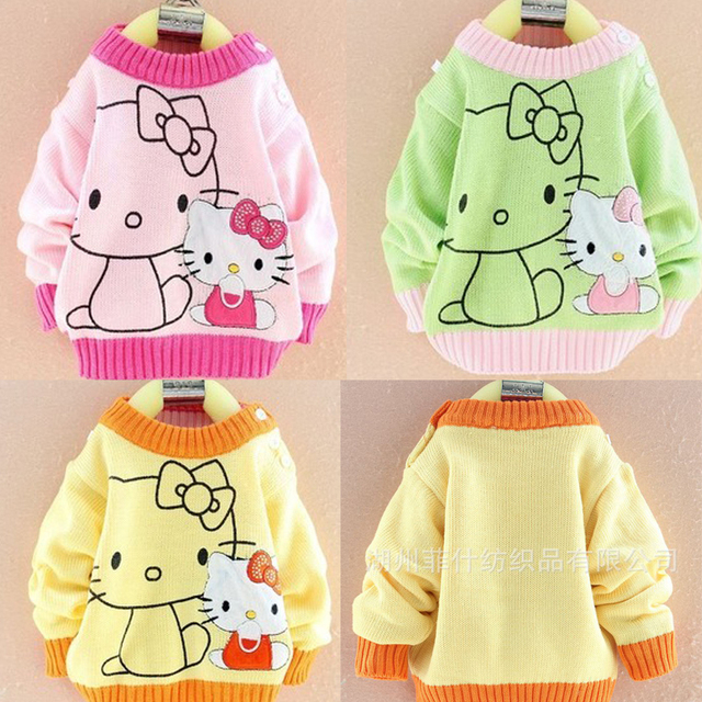 542c40643 children s knitted pullover sweaters outwear baby girls cartoon cat ...