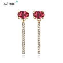 Luoteemi заявление Серьги-гвоздики один овальный красный камень микро проложили кубического ziircon brincos для Для женщин девочек Свадьба Встреча ювелирные изделия