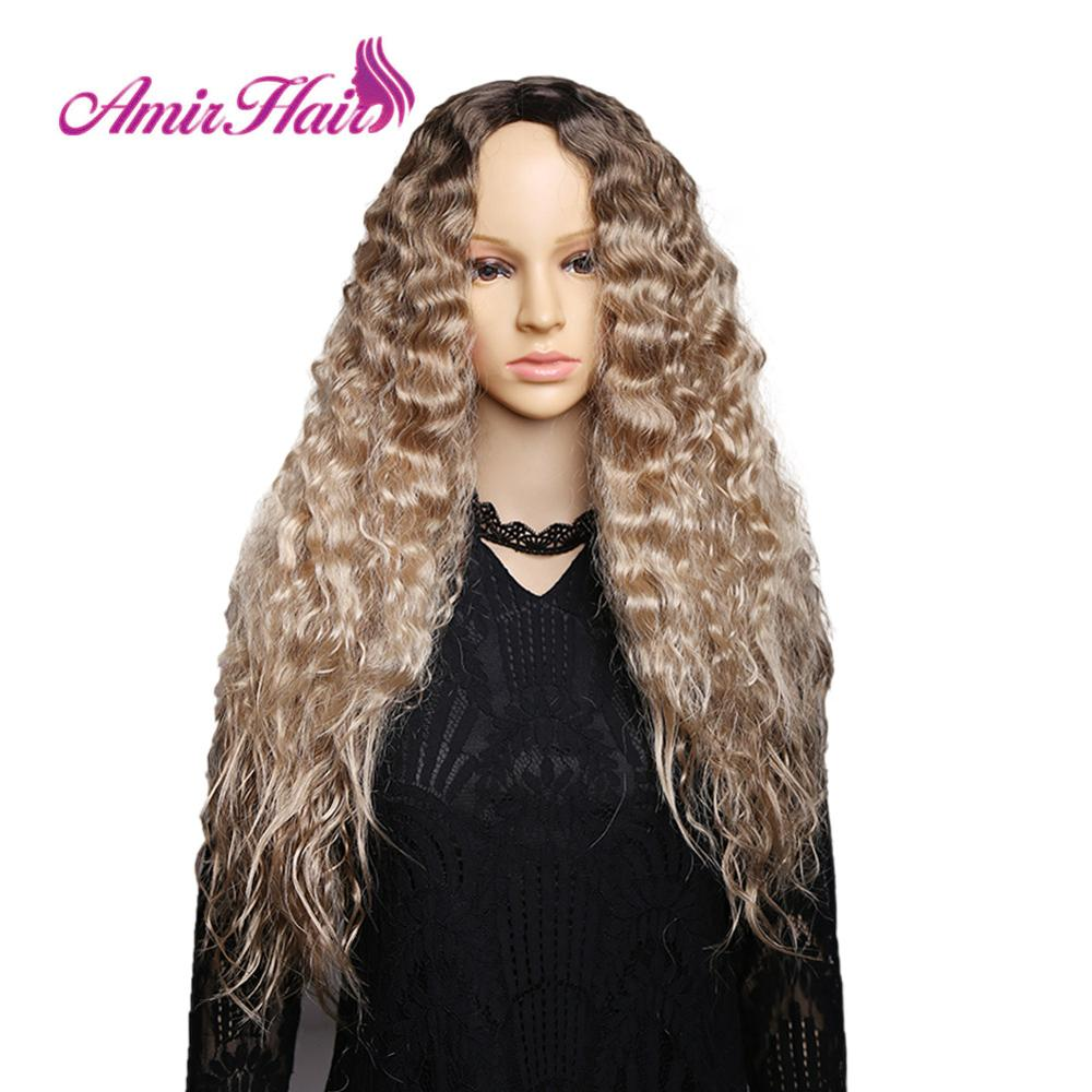 Amir Long Curly Synthetic Wigs Ombre Blonde Wig With Dark Roots High Temperature Fiber cosplay hair For American African Women