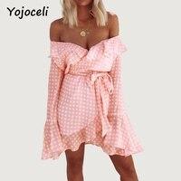 Yojoceli Rüschen off schulter short plaid sexy kleid frauen aufflackernhülse schärpen partei zwei stücke kleid Boho strand sommer kleid