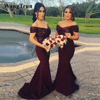 Wangtrun Off Shoulder Burgundy Bridesmaid Dresses Long 2019 Sequined Top Stretchable Country Style Wedding Guest Dresses Party