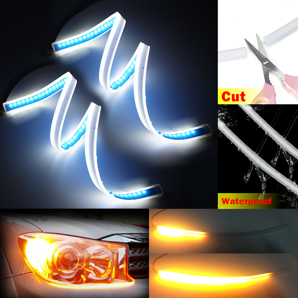 XINFOK 2PCS 60CM White Amber Yellow Red Blue LED Daytime Daylight Running Light Tube Flexible LED Strip DRL Switchback Headlight Lamp Only Blue