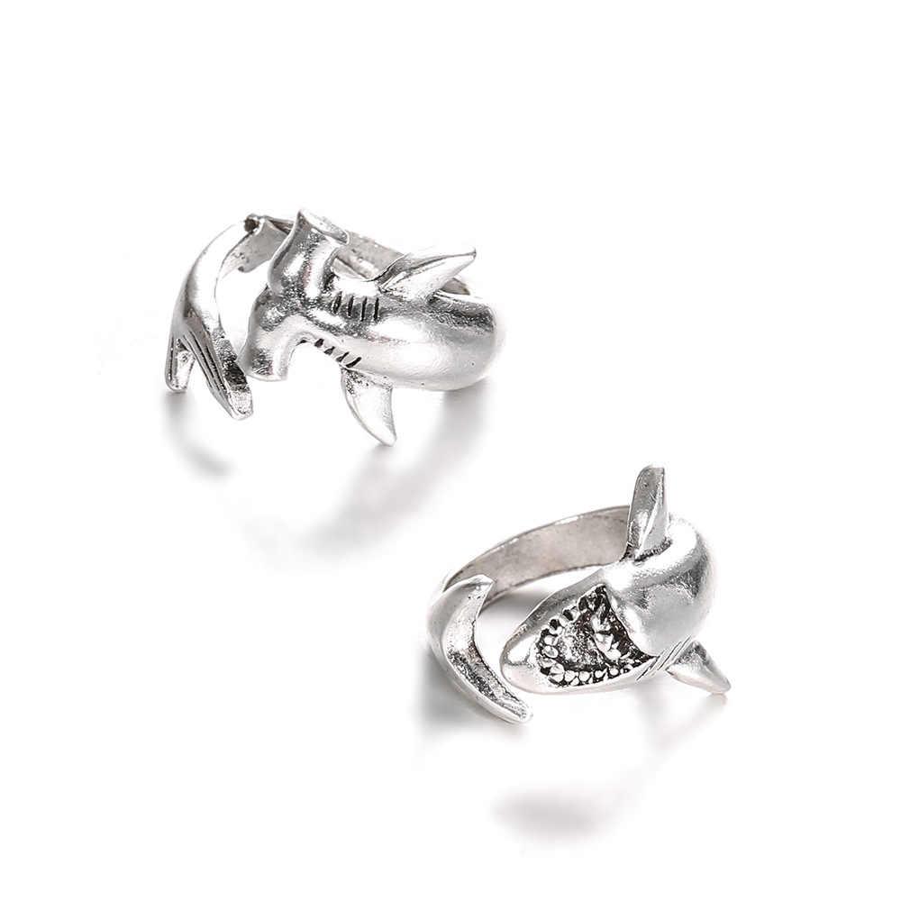 Новый Мода персонализированные Регулируемые кольца для Для мужчин/Для женщин Серебряный Цвет Винтаж большая белая акула модное кольцо с изображением животного Бесплатная доставка
