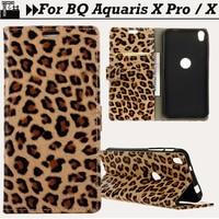 JURCHEN Funda For BQ Aquaris X Pro Case Leopard Print 3D Silicone Luxury Leather Flip Back