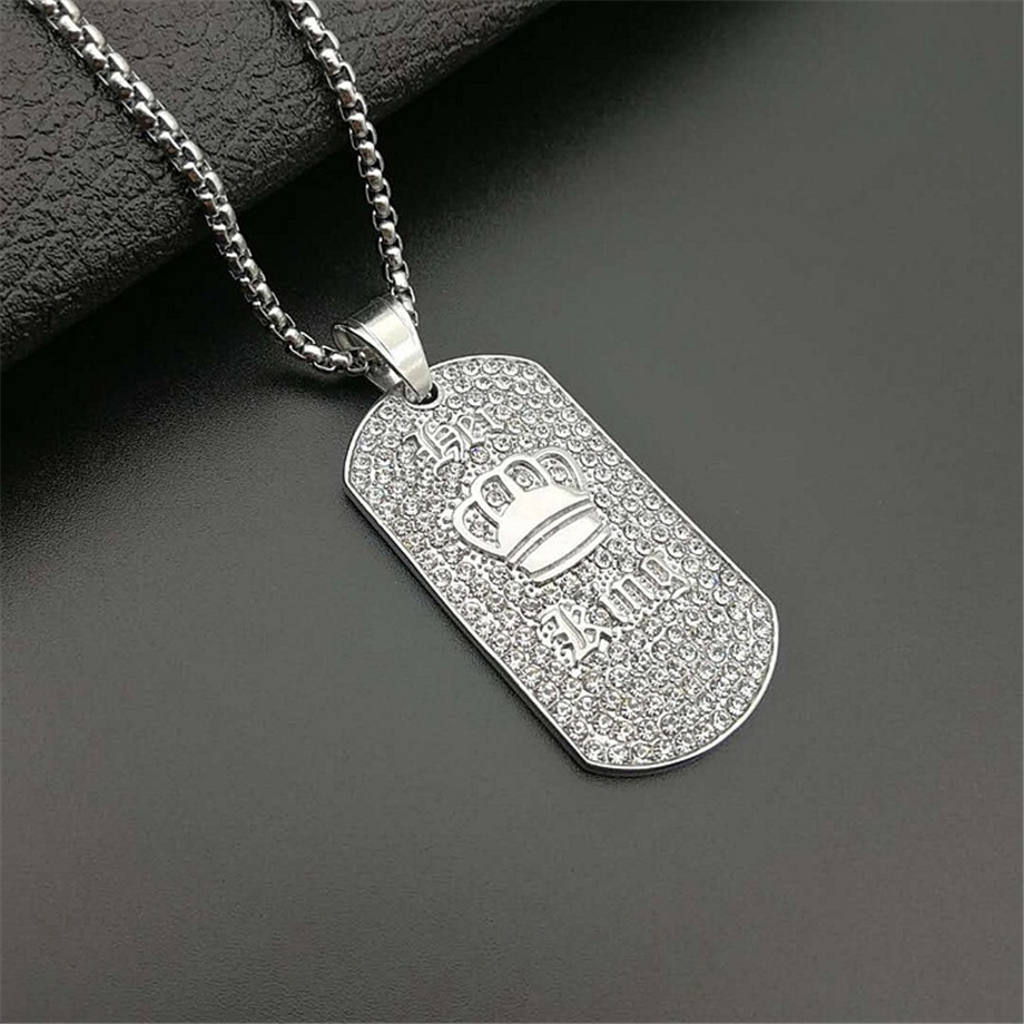 Hip Hop King Crown Pendant Necklace Stainless Steel Gold Color Iced Out Rhinestone Charm Necklace With 3mm Box Chain T1396 in Pendant Necklaces from Jewelry Accessories