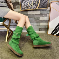 Autumn Winter Stretch Knit Women Sock Boots Suede Leather Knee High Platform Boots Red Green Blue Breathable Woven Shoes Woman