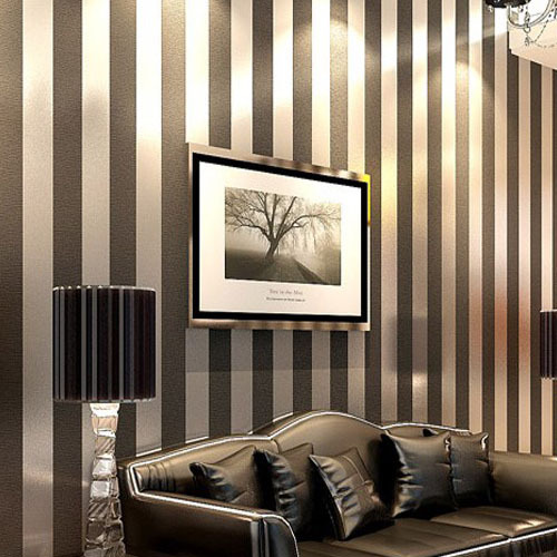 Wallpaper Non-woven Solid Color Stripe Plain Vertical Stripe Wall Papers Roll for Kids Room Child Home Decoration Black White beibehang non woven pink love printed wallpaper roll striped design wall paper for kid room girls minimalist home decoration