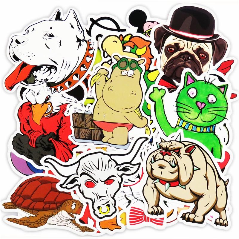 New 50 PCS Cute Animal font b Sticker b font Luggage Skateboard Doodle Vinyl Decals Car