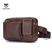 BULLCAPTAIN Genuine Leather Waist Pack Fanny Belt Bag Phone Pouch Bags Travel Male Small