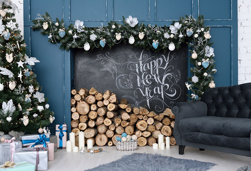 Indoor Fireplace Christmas Tree Photography Background: Vinyl Photography Backdrops Christmas Backdrop Tree
