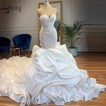 Casamento 2019 brilho cristal sereia vestidos de casamento fundo exuberante babados vestidos de noiva querida rendas até vestido de noiva