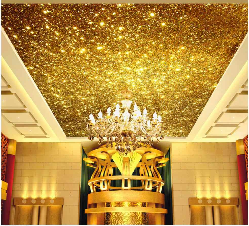 Golden 3d ceiling murals wallpaper Bright gold particles ceiling design Home Decoration ceiling wallpaper