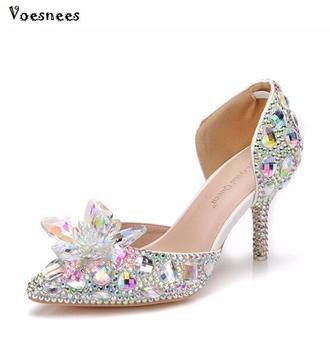 Zapatos de boda con diamantes de imitación de flores plateadas, zapatos de tacón alto brillantes para fiestas nocturnas, zapatos de novia de cristal de Cenicienta de 7,5 CM