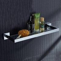 Leyden High Quality Chrome 304 Stainless Steel Bathroom Glass Single layer Dressing Table Wall Mounted Bathroom Shelf
