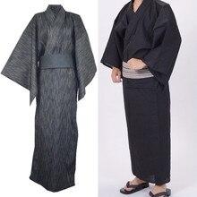 Men Japanese Kimono Yukata Bathrobe Pajamas Cotton Robe Clothing Long Summer