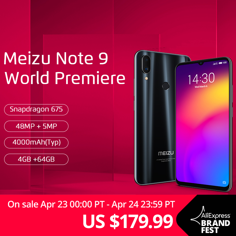 Global Version Meizu Note 9 4GB 64GB Smartphone Snapdragon 675 Octa Core  Note9 6 2'' 48MP Dual Camera AI Front 20MP 4000mAh B20