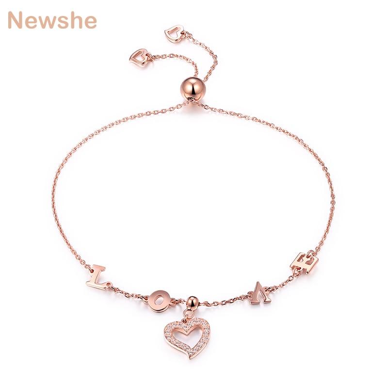 Newshe Chain Bracelet For Women 7.5 Inches 925 Sterling Silver Rose Gold Color Heart Shape With L-O-V-E Letter Romantic Jewelry trendy letter heart round rhinestone bracelet for women