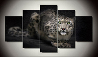 Free Shipping Leopard Painting On Canvas Room Decoration Print Poster Picture Canvas Wall Art 5 Pcs