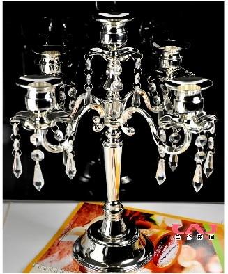 Vintage ezüstözött esküvői kristály gyertyatartó kristály - Lakberendezés