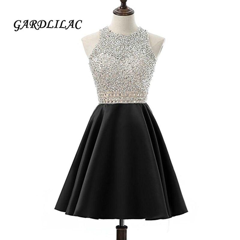 Robes de bal courtes Satin 2019 Gardlilac perlée dos nu noir robes de soirée formelles pas cher robe de retour courte élégante