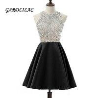 Short Prom Dresses Satin 2019 Gardlilac Beaded Backless Black Formal Party Gowns Cheap Homecoming Dress Short Elegant
