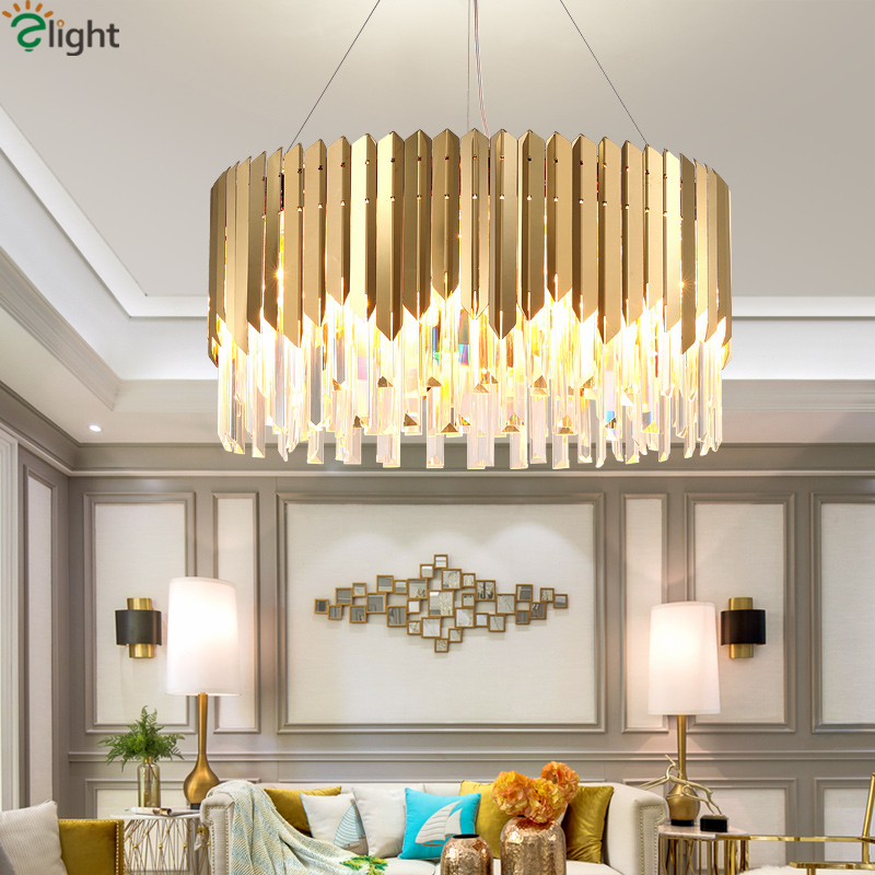 Luxury Living Room Lustre Shiny Gold Steel E14 Led Pendant Light Indoor Lighting Luminaria Led Pendant Lamparas Fixtures