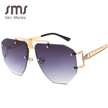 Rimless Sunglasses Men Women 2019 Luxury Brand Metal Fashion