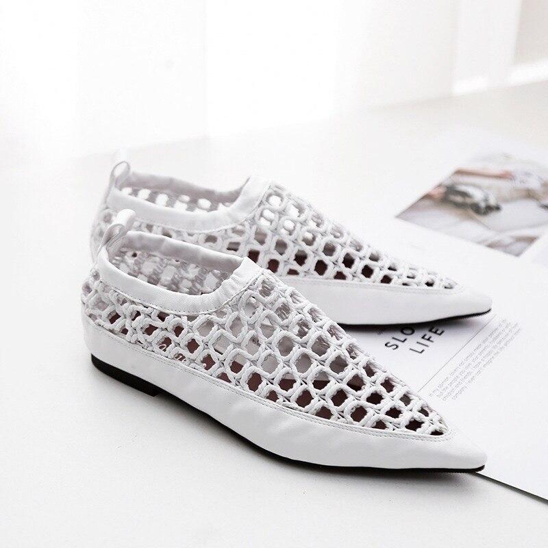 Коммерческой 2018 Ранняя осень новый Европейский модные тенденции указал Обувь с дышащей сеткой женская обувь на плоской подошве