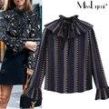 XXXL 4XL 5XL Plus Size Mulheres Blusas 2017 Primavera Do Vintage imprimir plissada ruffles gola flare manga longa ocasional solto camisa