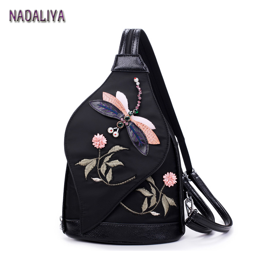 NADALIYA New Fashion Retro National Hand Embroidery Shoulder Bag Backpack Chest Woman Waterproof Oxford Cloth Backpack Designer 2016 summer mix color cloth art shoulder woman bag leisure packages exclusively for export national bag