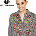 Eorish 2017 Flower Embroidery Blouses For Women Long Sleeve  Black and White Plaid Shirts Women Back Long