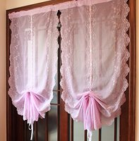 Light Purple Girls Bedroom Curtains Adjustable Balloon Curtain American Country Style Sheer Curtains